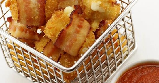 Deep Fried Bacon-Wrapped Cheese Curds